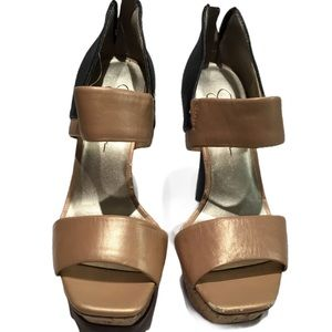 Jessica Simpson Open Toe Camel & Black Pumps